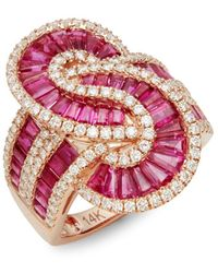 Effy 14k Rose Gold Ruby & Diamond Twist Ring - Multicolour
