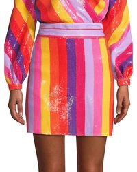 Olivia Rubin Libby Rainbow Stripe Sequin Mini Skirt - Pink