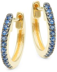 Saks Fifth Avenue 14k Yellow Gold & Blue Sapphire Hoop Earrings
