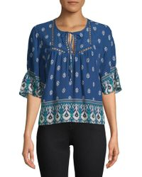 Ella Moss - Lace Printed Blouse - Lyst