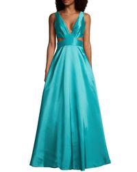 ML Monique Lhuillier Women's Cutout V-neck Gown - Teal - Size 8 - Blue