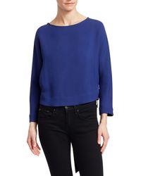 Giorgio Armani Silk-blend Crepe Long-sleeve Tie-back Blouse - Blue
