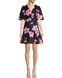Kate Spade Grand Flora Empire-waist A-line Dress - Black