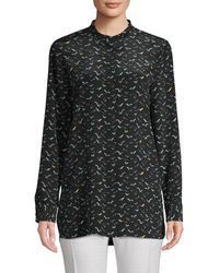Lafayette 148 New York Braydon Bird Print Blouse - Black