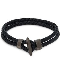 Saks Fifth Avenue Link Up Leather Toggle Bracelet - Black