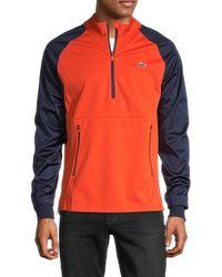 Lacoste Men's Colorblock Half-zip Pullover - Orange - Size 4 (m)