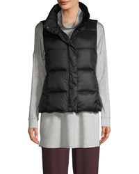 Eileen Fisher Recycled Polyester Quilted Puffer Vest - Black