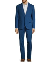 Karl Lagerfeld Men's Regular-fit Wool Blend Suit - Bright Blue - Size 40 R