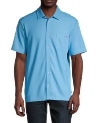Tommy Bahama Men's Emfielder Camp Shirt - Tide - Size S - Blue