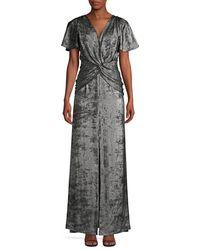 Aidan Mattox Flutter-sleeve Burn Velvet A-line Gown - Black