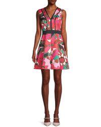 Ted Baker Women's Floral-print A-line Skater Dress - Bright Pink - Size 5 (12) - Multicolor