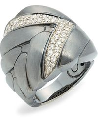 John Hardy Black Rhodium-plated Sterling Silver & Diamond Midi Ring - Metallic