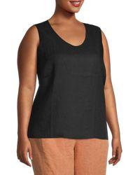 Eileen Fisher Women's Plus Organic Linen Shell Top - Black - Size 2x (18-20)