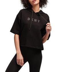 DKNY Short-sleeve Logo Hoodie - Black