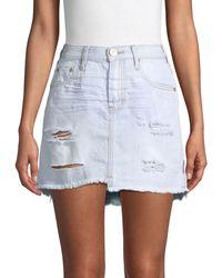 One Teaspoon 2020 Distressed Denim Mini Skirt - Blue