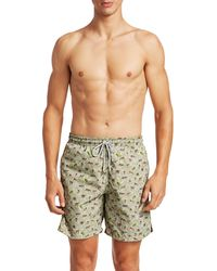 Saks Fifth Avenue Collection Cheetah Print Swim Trunks - Green