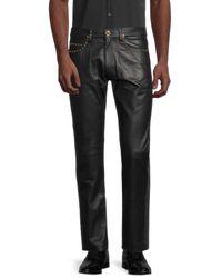Versace - Men's Slim-fit Leather Jeans - Black - Size 50 (34) - Lyst