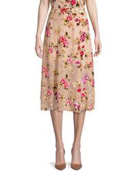 Alice + Olivia - Floral Midi Skirt - Lyst