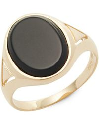 Saks Fifth Avenue - Onyx & 14k Gold Solitaire Ring - Lyst