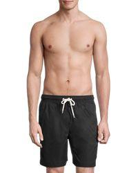 Brooks Brothers Montauk Solid Swim Shorts - Black
