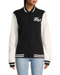 Karl Lagerfeld Wool-blend Varsity Jacket - Black