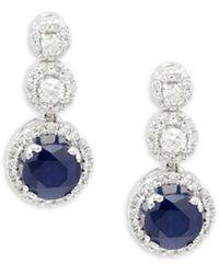Saks Fifth Avenue 14k White Gold, Sapphire & Diamond Drop Earrings - Blue