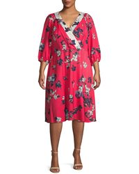 Adrianna Papell Plus Floral Three-quarter Sleeve Dress - Red