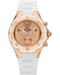 Michele Tahitian Jelly Bean Rose Goldtone Stainless Steel & Silicone Chronograph Bracelet Watch/white - Multicolour