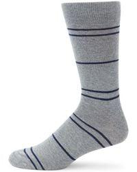 Saks Fifth Avenue Stripe Crew Socks - Gray