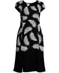 Oscar de la Renta Palm-print Cap-sleeve Sheath Dress - Black