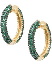 Gabi Rielle Celebration 14k Gold Vermeil & Crystal Hoop Earrings - Metallic