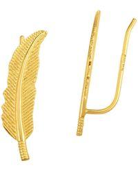 Saks Fifth Avenue 14k Yellow Gold Leaf Climber Ear Cuffs - Multicolour