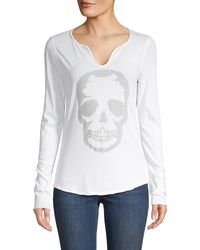 Zadig & Voltaire Embellished Skull Long Sleeve Tee - White
