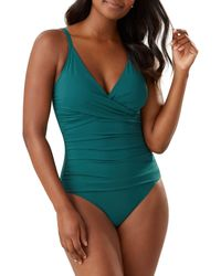Tommy Bahama Ruched One-piece Swimsuit - Green