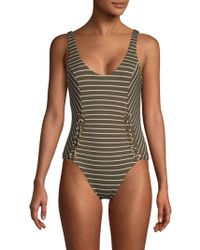 Red Carter Lace-up Striped One-piece - Green