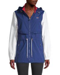 Tommy Hilfiger Women's Colorblock Taslan Nylon & Mesh Hooded Jacket - Deep Blue - Size Xl
