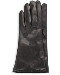 Portolano Women's Floral Leather Gloves - Black - Size 8