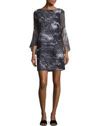 Elie Tahari Esmarella Printed Georgette-paneled Crepe De Chine Mini Dress Black