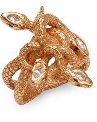 Sara Weinstock Serpent 18k Rose Gold, White Diamond & Black Diamond Snakepit Ring - Metallic