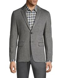 Theory Men's Slim-fit Marled Ponte Single-breasted Jacket - Black - Size 46 - Grey