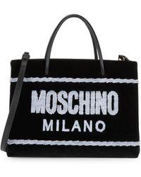 Moschino - Velvet Stitched Logo Tote - Lyst