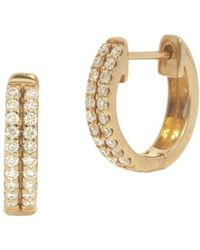 Nephora - 14k Yellow Gold And Diamonds Two Row Pave Huggie Earrings - Lyst