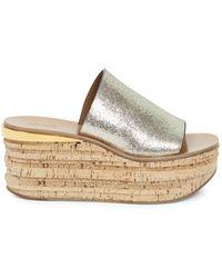 Chloé Women's Camille Leather Platform Sandals - Gray - Size 37.5 (7.5)