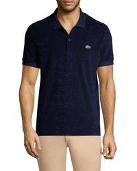 Lacoste Men's Cotton Fleece Polo Shirt - Cicer - Size 3 (s) - Blue