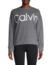 Calvin Klein Logo Cotton-blend Sweatshirt - Grey