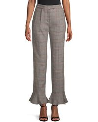 Rosie Assoulin - Ruffle-trimmed Plaid Wool Straight-leg Pants - Lyst
