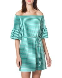 Donna Morgan - Striped Off-the-shoulder Dress - Lyst