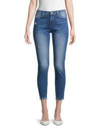 Flying Monkey Mid-rise Cropped Raw-hem Skinny Jeans - Blue