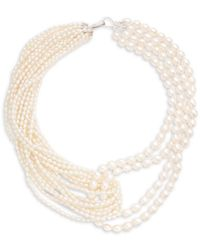 Belpearl Women's Sterling Silver & 3-7mm Oval Freshwater Pearl Multi-row Necklace - White