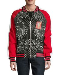 Versace Men's Raglan-sleeve Wool-blend Bomber Jacket - Black Red - Size 50 (40)